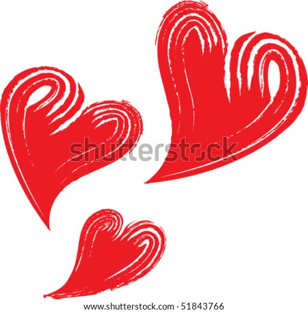 swishy hearts - stock vector