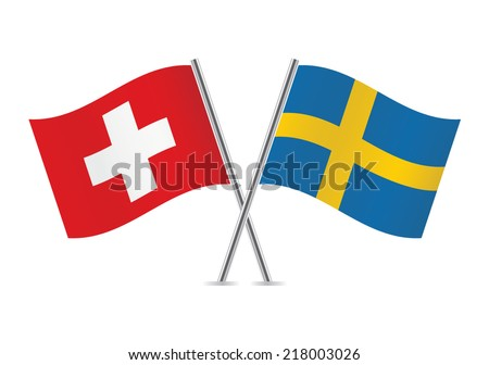 Swiss and Swedish flags. Vector illustration. - stock vector