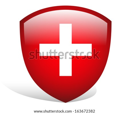 Swiss, first aid crest - badge - stock vector