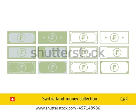 Swiss Franc banknote. Money icons set illustration - stock vector