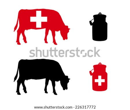 Swiss milk cow - stock vector
