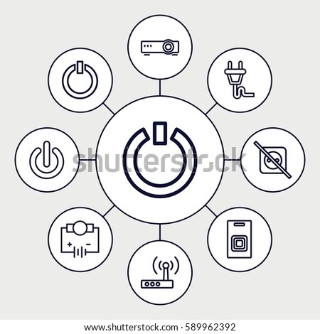 Set of 9 switch outline icons such as plug door bell