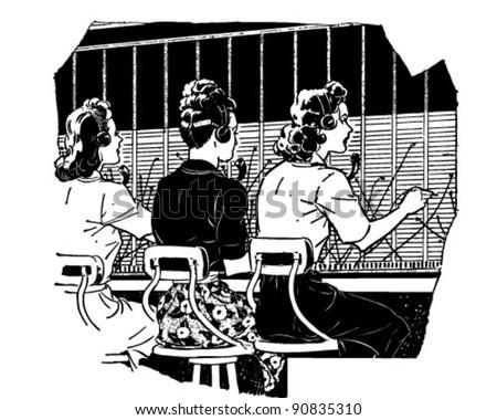 Switchboard Operators 2 - Retro Clipart Illustration - stock vector
