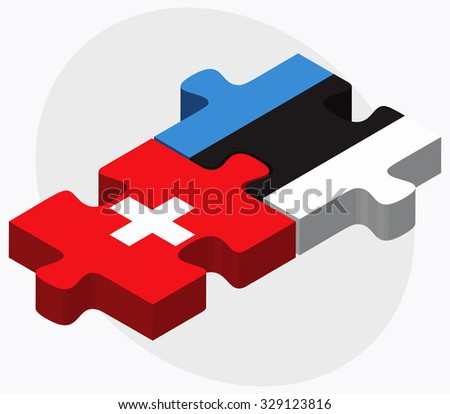 Switzerland and Estonia Flags in puzzle isolated on white background - stock vector