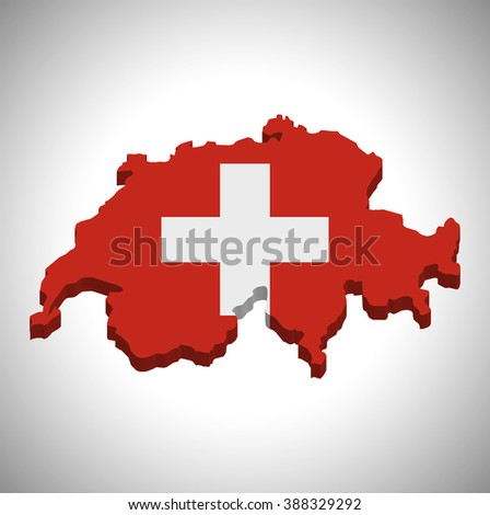 Switzerland - 3D map and flag