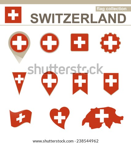 Switzerland Flag Collection, 12 versions - stock vector