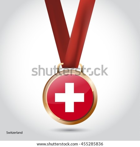 Switzerland Flag in Bronze Medal. Vector Illustration - stock vector