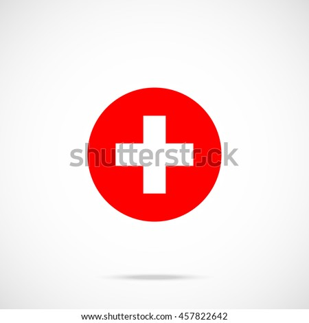 Switzerland flag round icon. National swiss flag icon in circle with accurate official color scheme. Premium quality. Vector illustration isolated on gradient background - stock vector