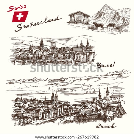 switzerland - han drawn set - stock vector