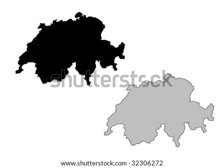Switzerland map. Black and white. Mercator projection. - stock vector