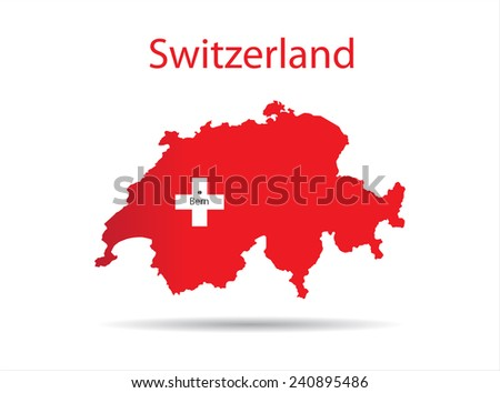 Switzerland map.Color of national flag inside.Vector illustration. - stock vector