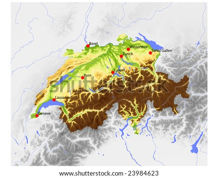 Switzerland. Physical vector map, colored according to elevation, with rivers and selected cities. Surrounding territory greyed out. 55 named layers, fully editable. Data source: NASA - stock vector
