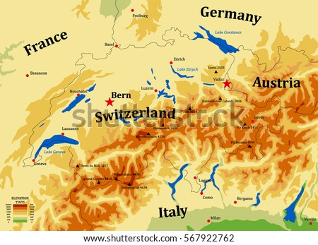 switzerland physical vector map with cities mounts and lakes