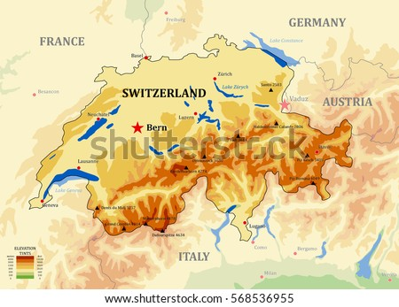 Switzerland Physical Vector Map Main Cities Stock Photo Photo