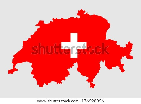 Switzerland silhouette isolated on white background. High detailed vector map flag Switzerland.