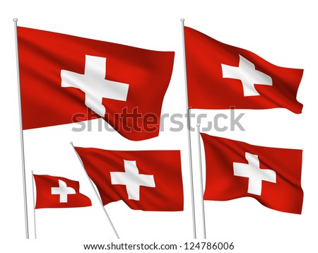 Switzerland vector flags. A set of 5 wavy 3D flags created using gradient meshes. - stock vector