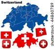 Switzerland vector set. Detailed country shape with region borders, flags and icons isolated on white background. - stock photo
