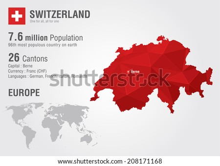 Switzerland World Map Pixel Diamond Texture Stock Vector 208171168