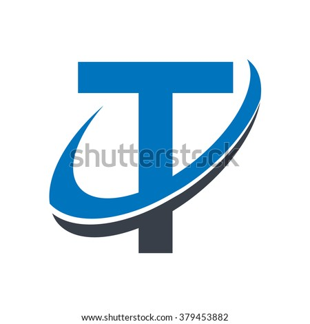Swoosh Alphabet logo icon with the letter T