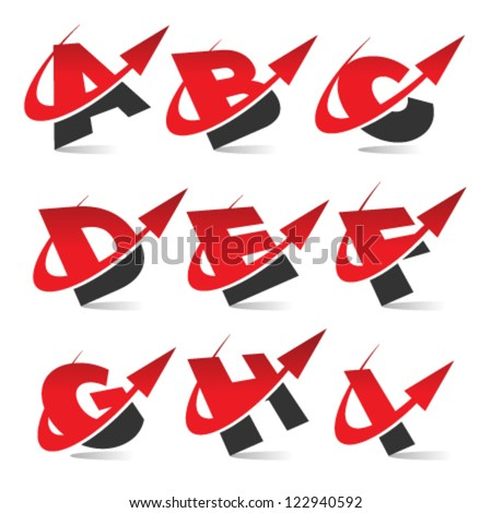 Swoosh arrow alphabet logo icons set 1 - stock vector