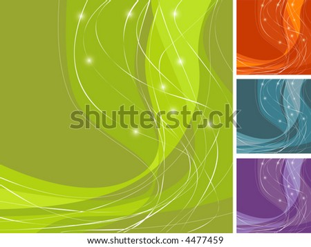 Swoosh Design with lines and sparkling stars. Easy-edit layered file is great for backgrounds. - stock vector