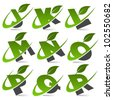 Swoosh green alphabet with leaf logo icon Set 2 - stock photo