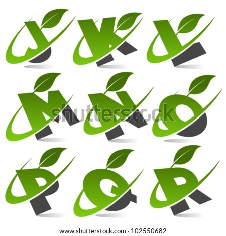 Swoosh green alphabet with leaf logo icon Set 2 - stock vector