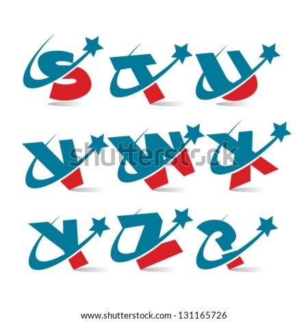 Swoosh Patriotic Alphabet Logo Icons Set 3 - stock vector