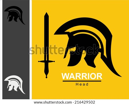 sword and centurion.Sparta warrior head and sword combine with text. Spartan helmet and sword.Trojan helmet and sword. Warrior helmet and sword. Historical Sparta concept icon.Ancient Roman Centurion. - stock vector