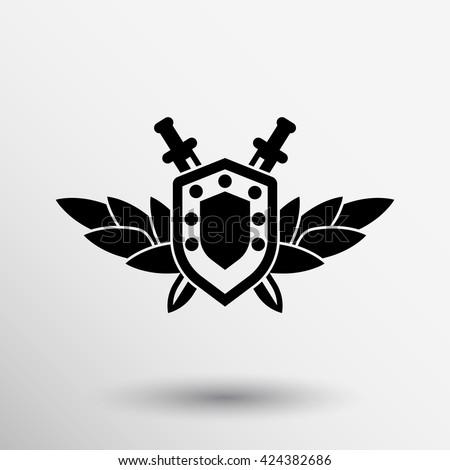 sword and shield icon award logo armed. - stock vector