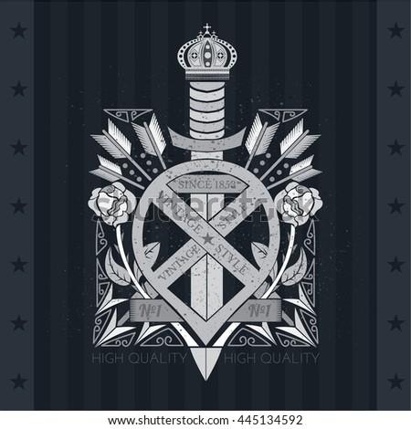 Sword in center of bent ribbons between roses and arrows. Heraldic vintage label on blackboard - stock vector