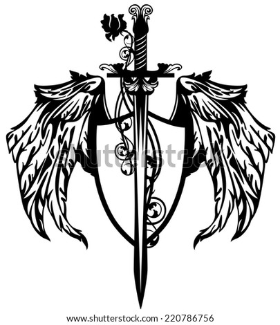 sword with rose flower and winged shield design - black and white vector emblem - stock vector