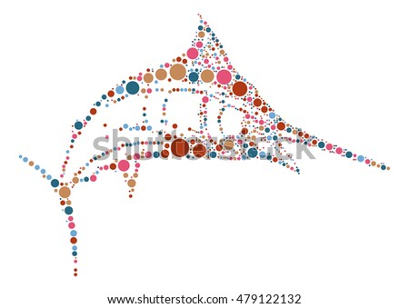 swordfish shape vector design by color point