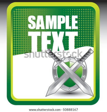 swords and shield green banner - stock vector
