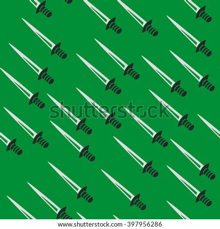 Swords back pattern seamless green - stock vector