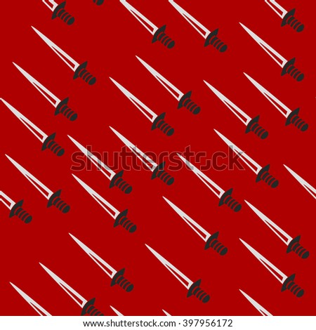 Swords back pattern seamless red - stock vector