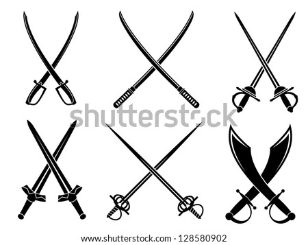 Swords, sabres and longswords set for heraldry design. Jpeg version also available in gallery - stock vector