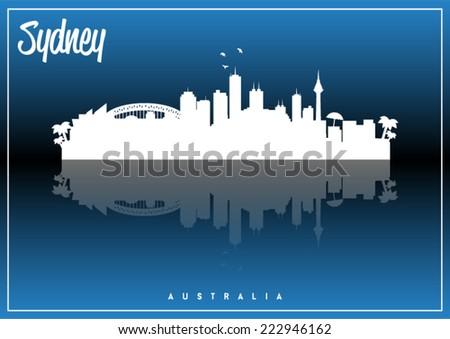 Sydney, Australia skyline silhouette vector design on parliament blue and black background. - stock vector