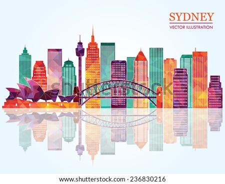 Sydney City skyline detailed silhouette. Vector illustration - stock vector