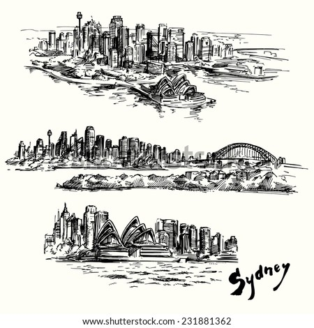 Sydney - hand drawn collection - stock vector