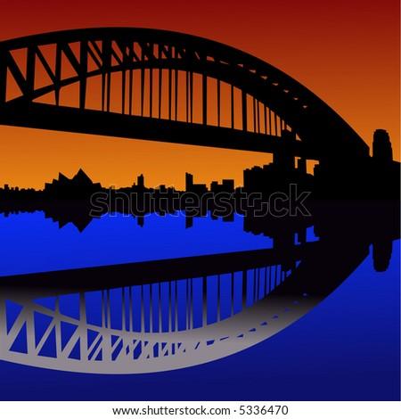 Sydney harbour bridge reflected at sunset illustration - stock vector