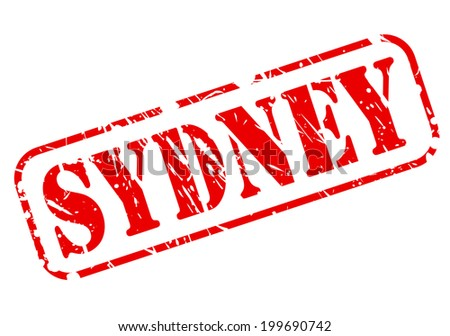 SYDNEY red stamp text on white - stock vector