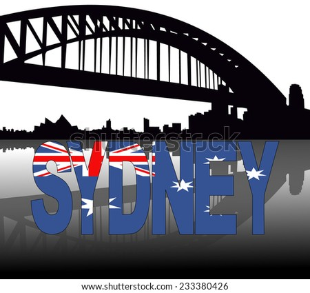 Sydney skyline reflected with Australian flag text vector illustration - stock vector