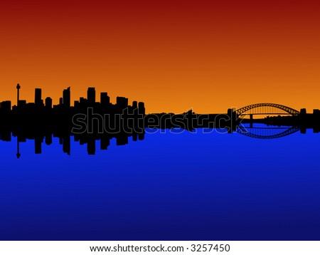 Sydney skyline with harbour bridge at sunset - stock vector