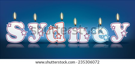 SYDNEY written with burning candles - vector illustration
