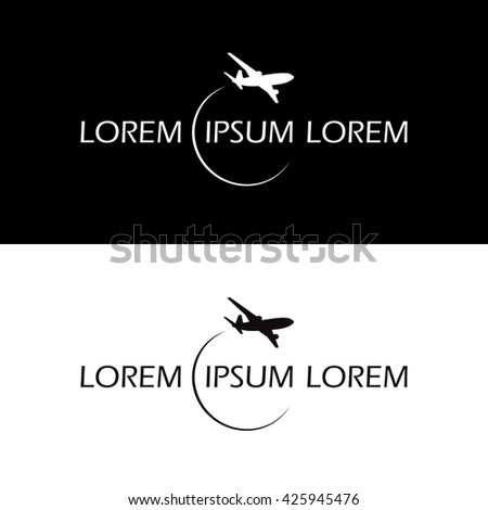 symbol airplane logo travel tourism design vector black and white