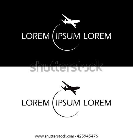 symbol airplane logo travel tourism design vector black and white - stock vector