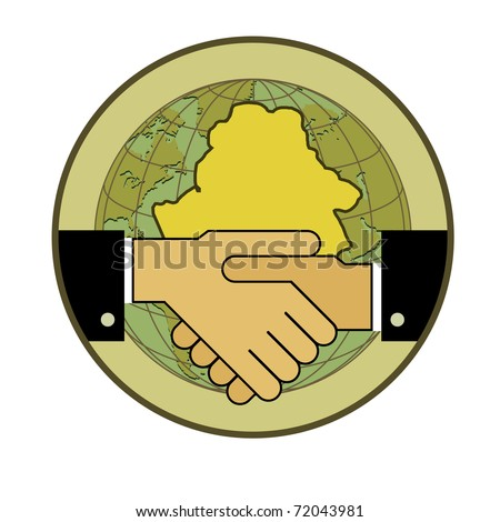 Symbol-concept. Handshake - two hands, and the contour of the Republic of Belarus - stock vector