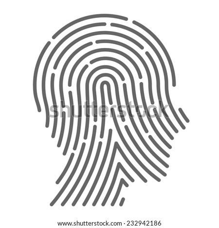 Symbol fingerprint-head. Vector illustration - stock vector