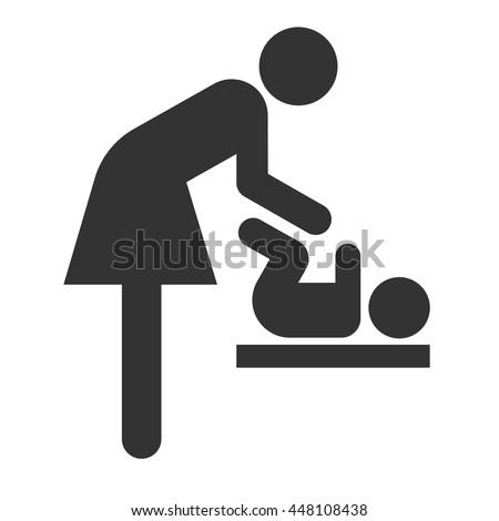 Symbol Woman Baby Toilet Room Mothers Stock Vector 448108438